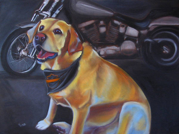 Yellow Labrador Retreiver Painting Poster featuring the painting George And The Harley by Kaytee Esser