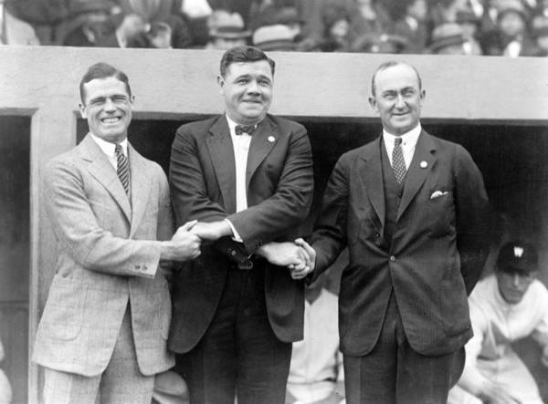 ty Cobb Poster featuring the photograph George Sisler - Babe Ruth And Ty Cobb - Baseball Legends by International Images