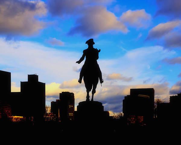 Boston Poster featuring the photograph George Washington Statue Sunset - Boston by Joann Vitali