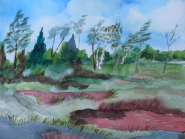 Watercolor Landscape Pond Trees Poster featuring the painting Georgia Pond by Warren Thompson