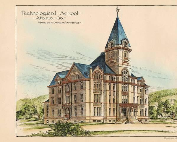 Georgia Poster featuring the painting Georgia Technical School. Atlanta Georgia 1887 by Bruce and Morgan