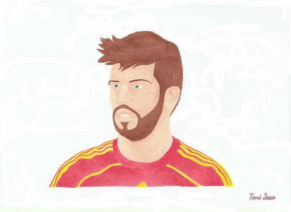 Gerard Pique Poster featuring the drawing Gerard Pique by Toni Jaso