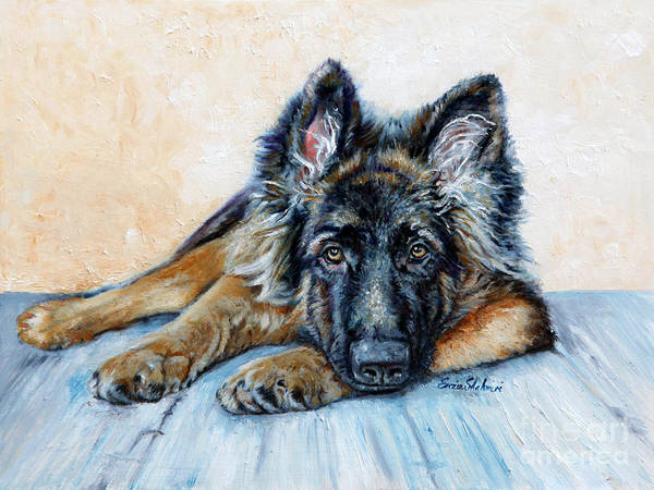 Animals Poster featuring the painting German Shepherd by Enzie Shahmiri