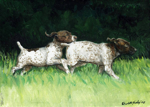Dog Poster featuring the painting German Shorthaired Pointer Pups by Charlotte Yealey