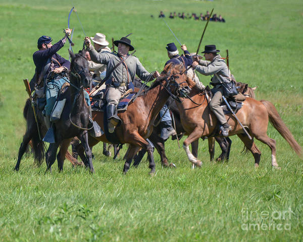 150th Poster featuring the photograph Gettysburg Cavalry Battle 7948c by Cynthia Staley