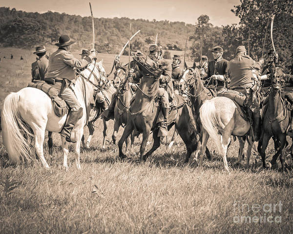 150th Poster featuring the photograph Gettysburg Cavalry Battle 7970s by Cynthia Staley