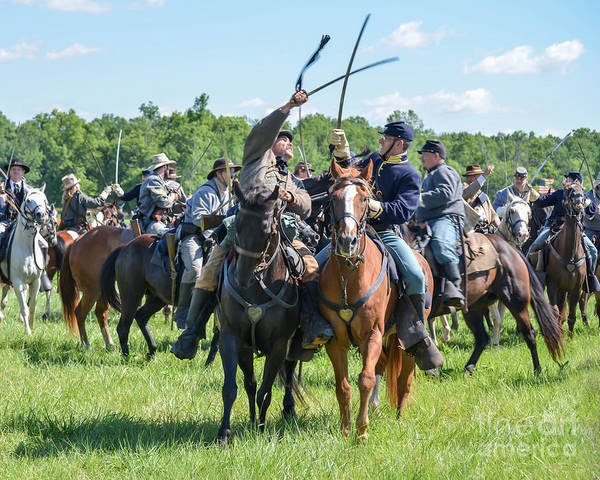 150th Poster featuring the photograph Gettysburg Cavalry Battle 7992c by Cynthia Staley