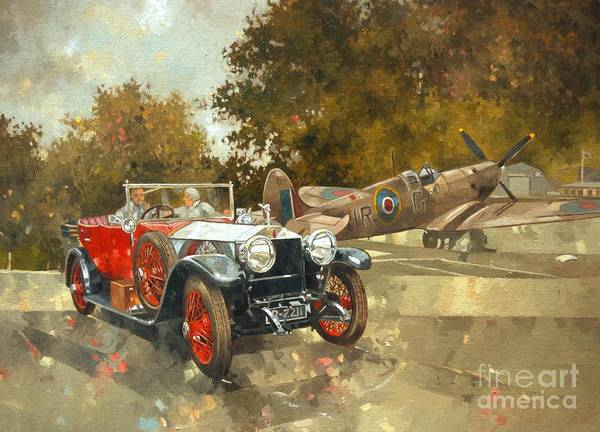 Rolls Royce; Car; Vehicle; Vintage; Automobile; Airplane; Aeroplane; Plane; Aircraft; Raf; Royal Air Force; Spitfire; Classic Car; Old Timer Poster featuring the painting Ghost And Spitfire by Peter Miller