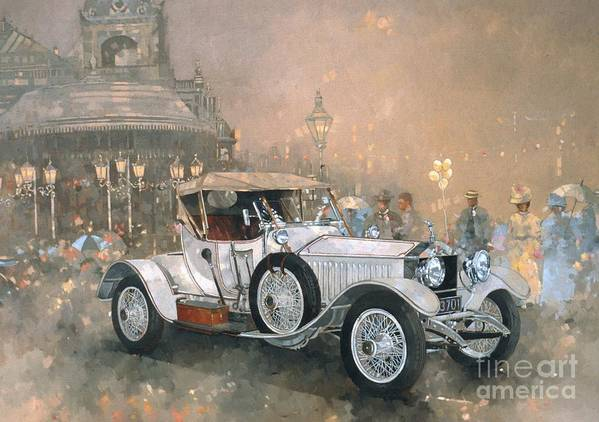 Seaside; Evening; Promenade; Car; Automobile; Rolls Royce; Vintage; Bandstand; Classic Cars; Vintage Cars; Nostalgia; Resort; Old Timer ; Scarborough Poster featuring the painting Ghost In Scarborough by Peter Miller