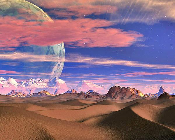 David Jackson Ghost World Alien Landscape Planets Scifi Poster featuring the digital art Ghost World by David Jackson
