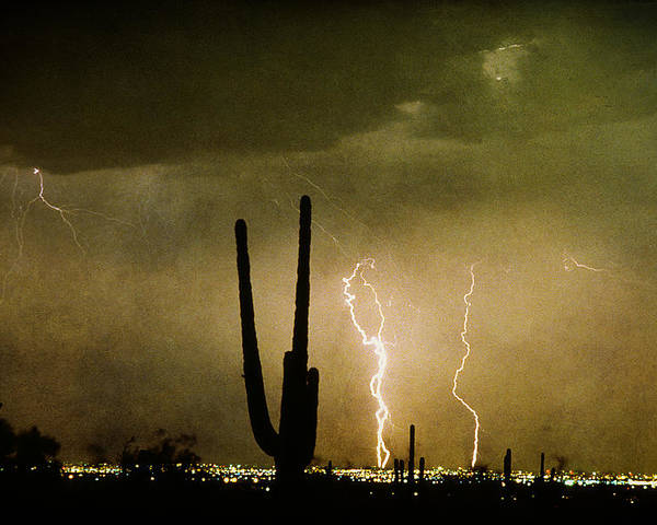Lightning Poster featuring the photograph Giant Saguaro Southwest Lightning Peace Out by James BO Insogna