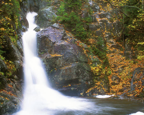 New Hampshire Poster featuring the photograph Gibbs Falls Presidential Range by John Burk