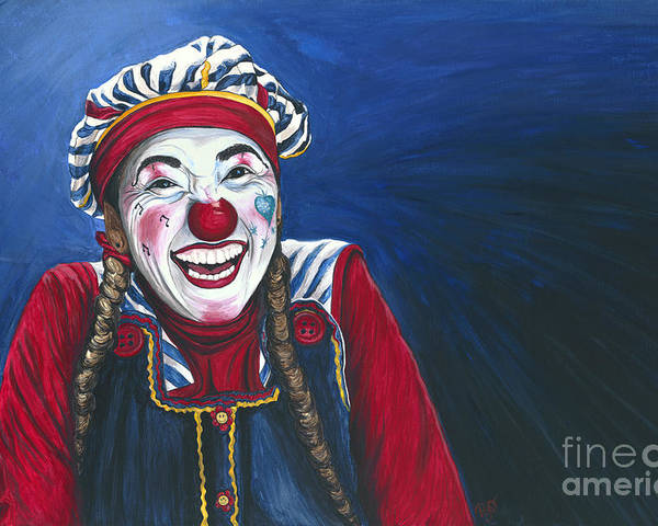 Clown Poster featuring the painting Giggles The Clown by Patty Vicknair