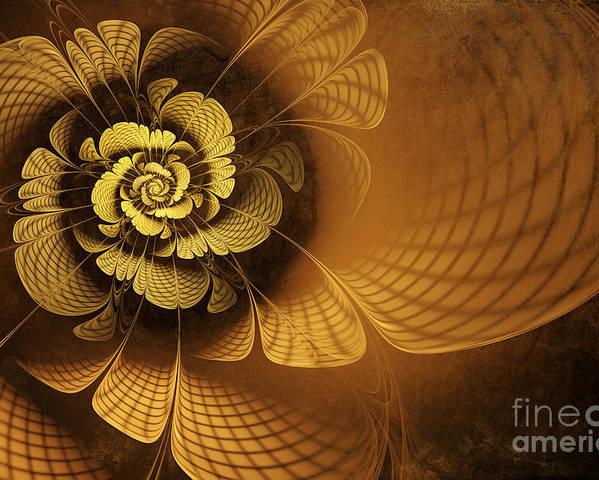 Flower Poster featuring the digital art Gilded Flower by John Edwards