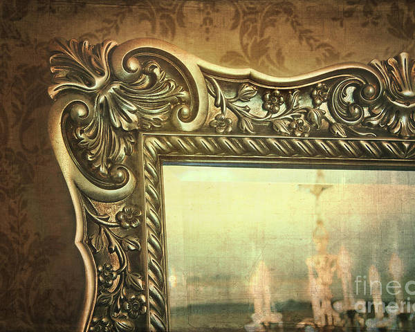 Architecture Poster featuring the photograph Gilded Mirror Reflection Of Chandelier by Sandra Cunningham