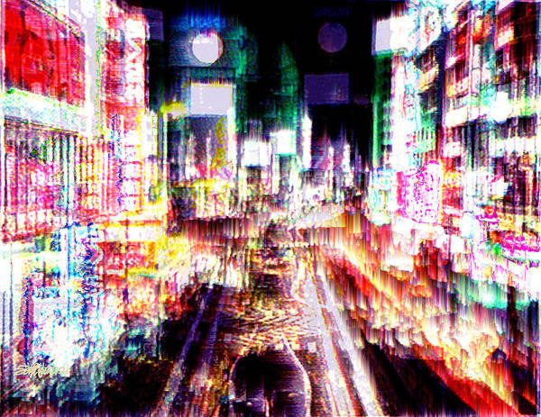 Tokyo Poster featuring the digital art Ginsa Glitz by Seth Weaver