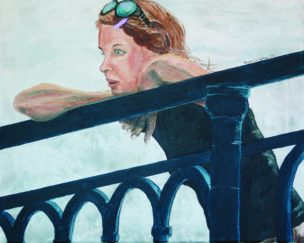 Amsterdam Poster featuring the painting Girl on the Rail by Kevin Callahan
