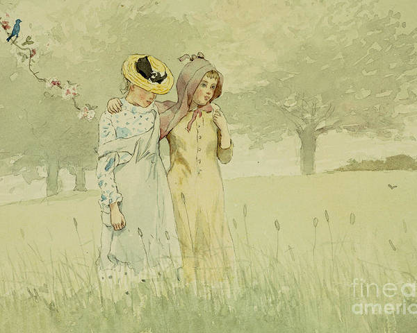 Girls Strolling In An Orchard Poster featuring the painting Girls Strolling In An Orchard by Winslow Homer