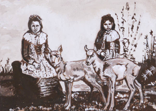 Western Poster featuring the painting Girls With Pronghorn Fawns Historical Vignette From River Mural by Dawn Senior-Trask