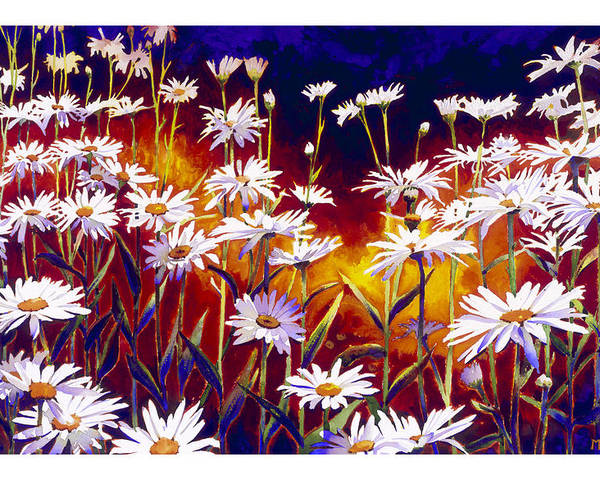 Daisy Daisies Field Flowers Warm Colors Cool Day Blues Poster featuring the painting Give Me Your Answer Do by Mike Hill