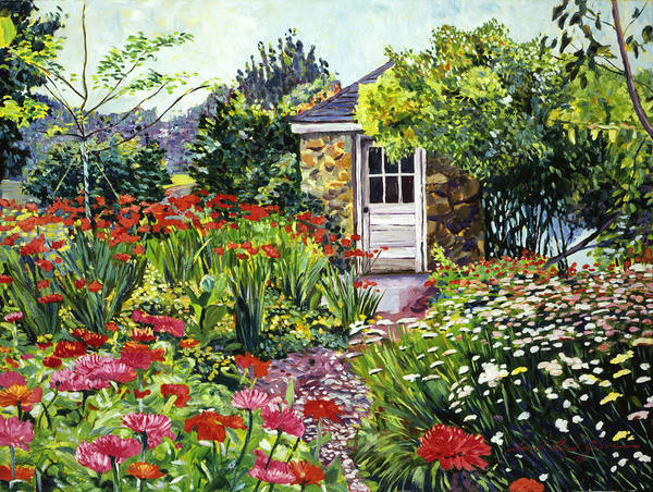 Gardens Poster featuring the painting Giverny Gardeners House by David Lloyd Glover