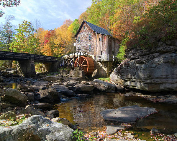 Mill Poster featuring the photograph Glade Creek Grist Mill by Steve Stuller