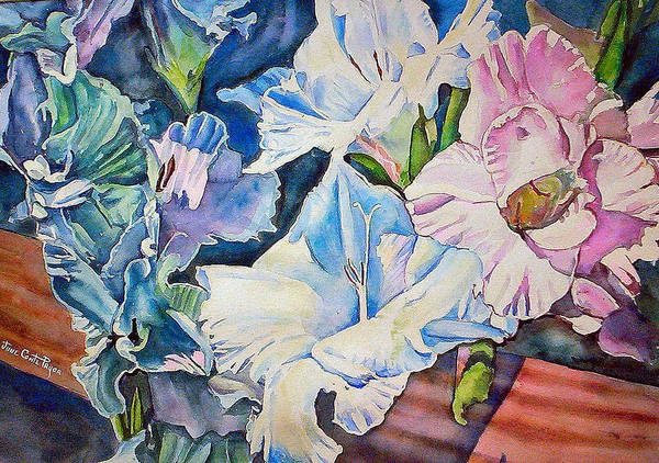 Gladiolas Poster featuring the painting Glads On The Deck by June Conte Pryor