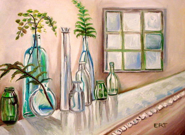 Glass Poster featuring the painting Glass And Ferns by Elizabeth Robinette Tyndall