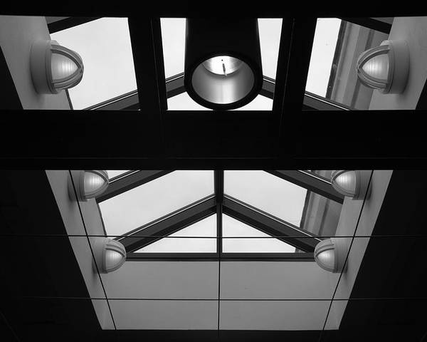 Black And White Poster featuring the photograph Glass Sky Lights by Rob Hans