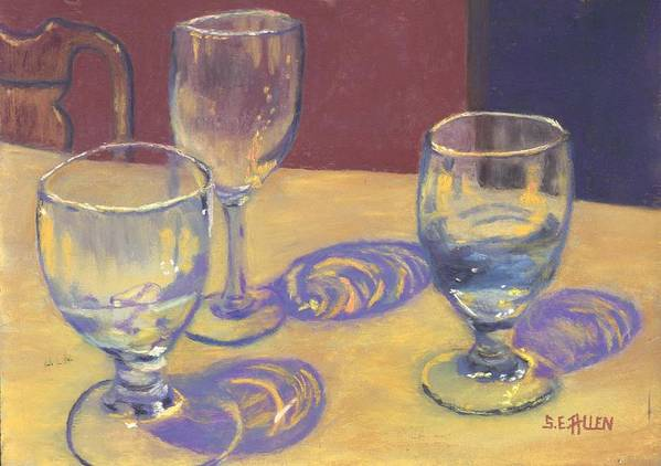 Glasses Poster featuring the painting Glasslights by Sharon E Allen