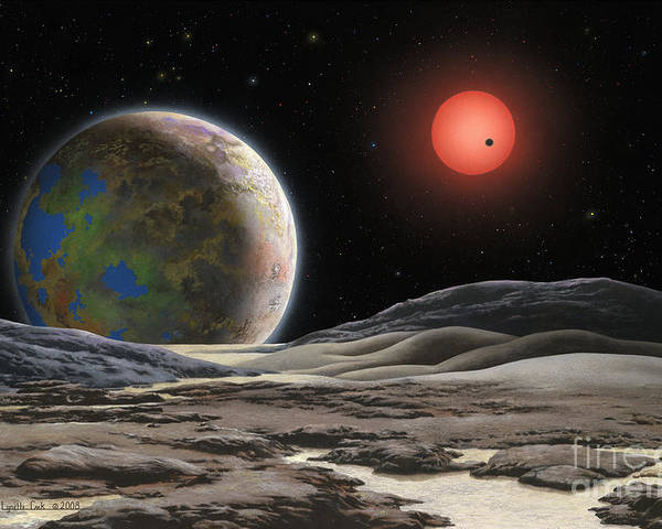 Lynette Cook Poster featuring the painting Gliese 581 C by Lynette Cook