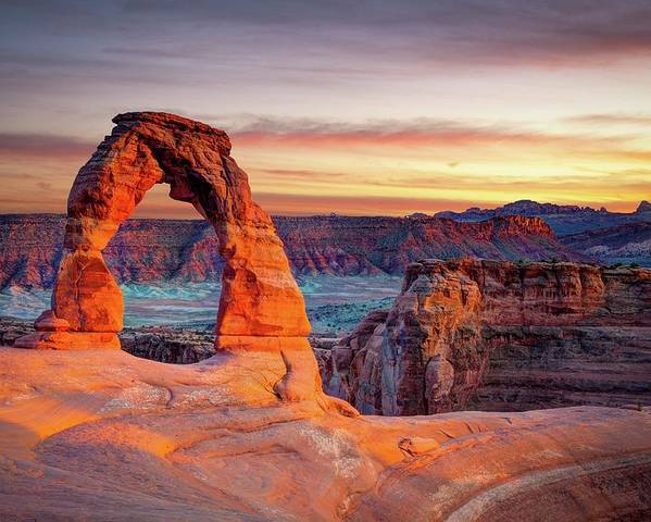 Horizontal Poster featuring the photograph Glowing Arch by Mark Brodkin Photography