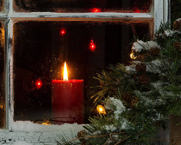 Christmas Poster featuring the photograph Glowing Christmas Candle In Frosted Home Window by Thomas Baker