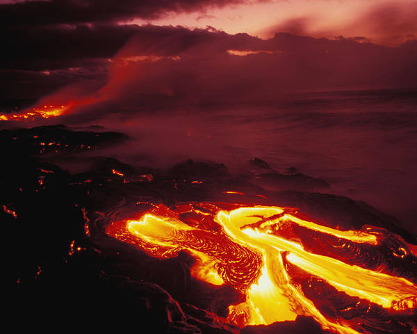 Active Poster featuring the photograph Glowing Lava Flow by Peter French - Printscapes