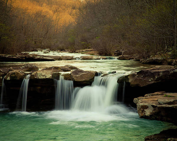 Trees Poster featuring the photograph Glowing Waterfalls by Iris Greenwell