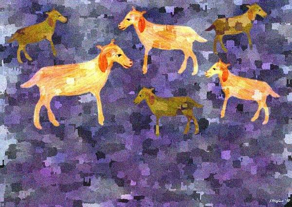 Goats Goat Field Pasture Shepherd Grass Nature Landscape Mosaic Design Wandering Animal Animals Poster featuring the digital art Goats In The Field by Sher Magins