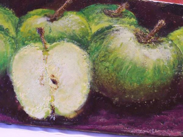 Still Life Poster featuring the painting Gods Little Green Apples by Karla Phlypo-Price