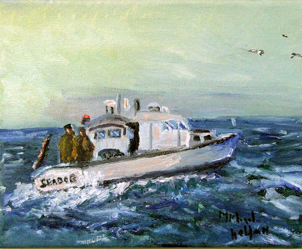 Nautical Poster featuring the painting Going Fishing by Michael Helfen