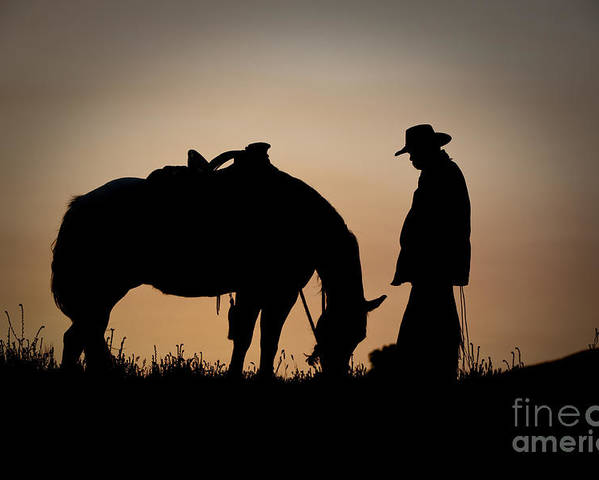 Cowboy And Horse Poster featuring the photograph Going Home by Sandra Bronstein