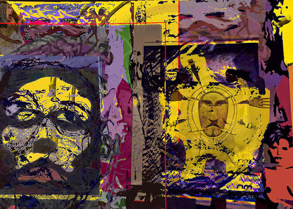 Collage Poster featuring the painting Gold Of The Desert Kings by N