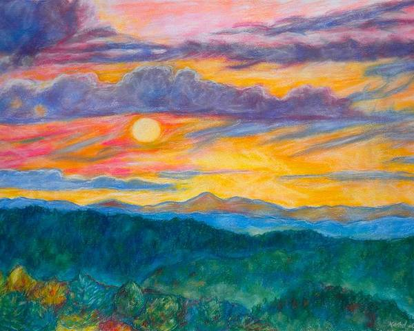 Landscape Poster featuring the painting Golden Blue Ridge Sunset by Kendall Kessler