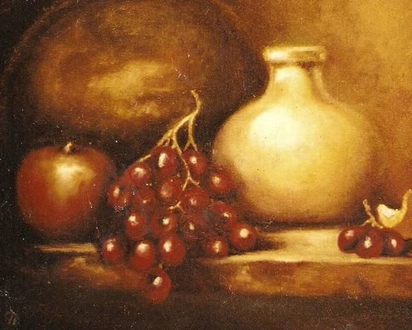 Still Life Poster featuring the painting Golden Carafe by Jordana Sands