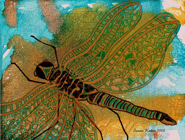 Dragonfly Poster featuring the mixed media Golden Dragonfly by Susan Kubes
