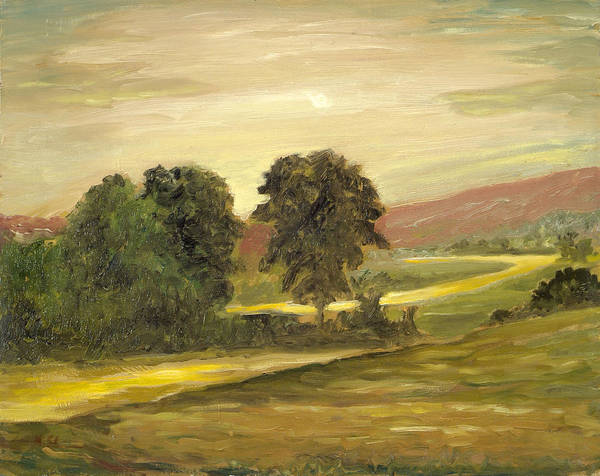 Landscape Poster featuring the painting Golden End Of The Day by Michael Scherer