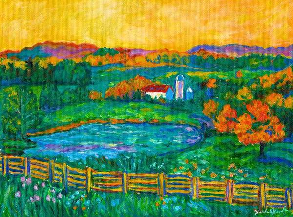 Landscape Poster featuring the painting Golden Farm Scene Sketch by Kendall Kessler