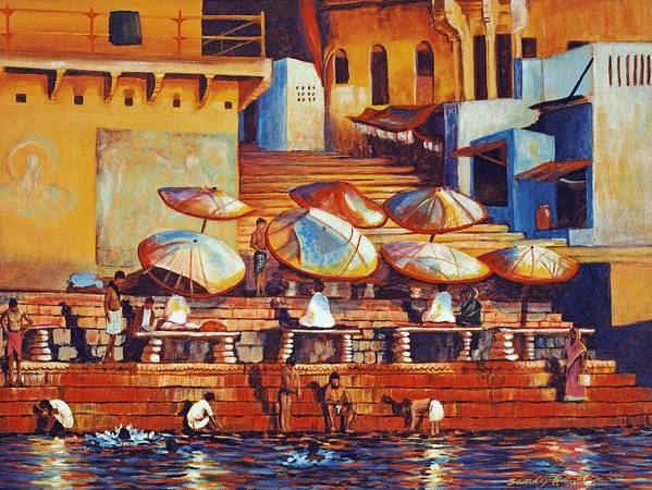 Realist Poster featuring the painting Golden Ganges by Art Nomad Sandra Hansen