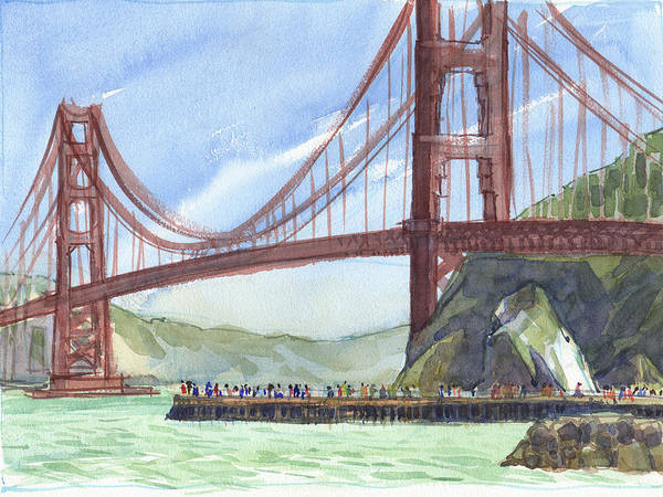Landscape Poster featuring the painting Golden Gate Bridge From Fort Baker, Ca by Judith Kunzle