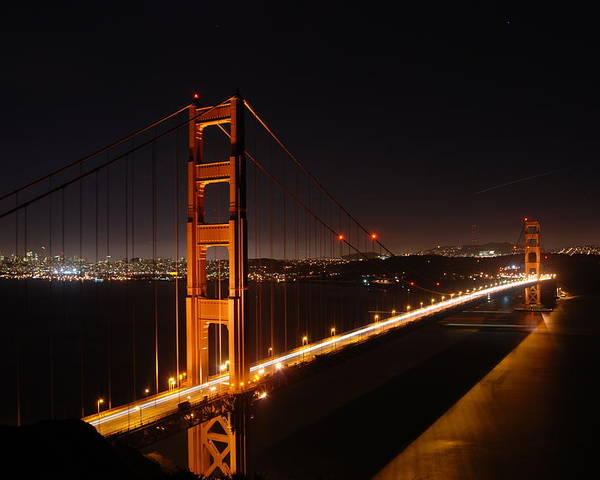 Golden Poster featuring the photograph Golden Gate Bridge by Gene Sizemore