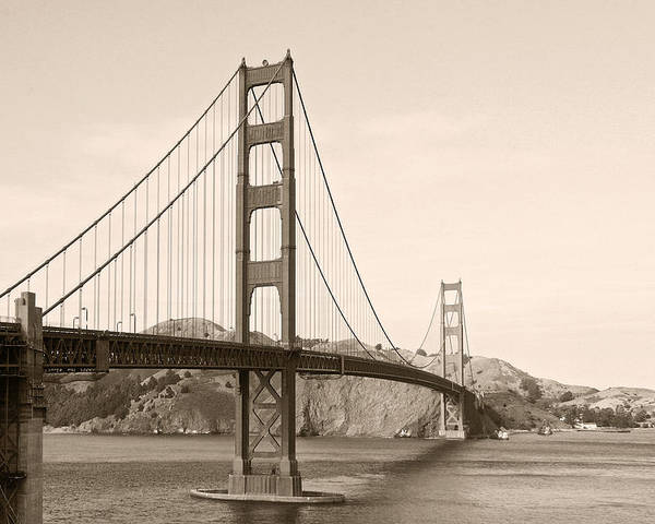 Golden Gate Bridge Poster featuring the photograph Golden Gate Bridge San Francisco - A Thirty-five Million Dollar Steel Harp by Christine Till