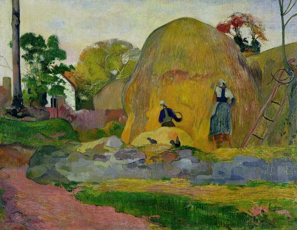 Yellow Haystacks Poster featuring the painting Golden Harvest by Paul Gauguin